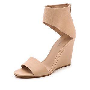 Vince Kelan Wedge Sandals Calfskin Leather Size 8